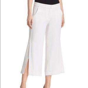 ELIE TAHARI Eloisa Slit Wide Leg Crop White PANTS